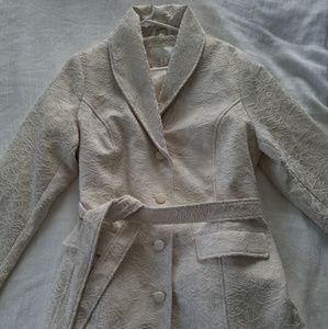 Ivory Embroidered Peacoat